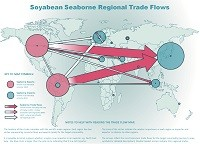 Soyabean seaborne regional trade flow map