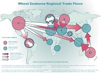 Wheat seaborne regional trade flows map
