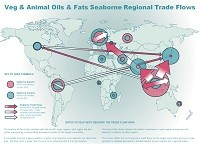 Veg & animal oils & fats seaborne regional trade flows map